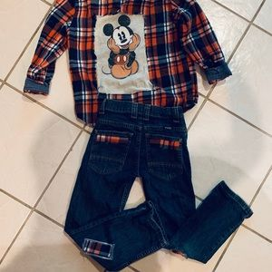 ONE OF A KIND!! Upcycle boys outfit!Vintage Mickey